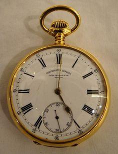Magnifico relógio de bolso Patek Philippe em ouro, caixa de 5,5 cm de diâmetro.