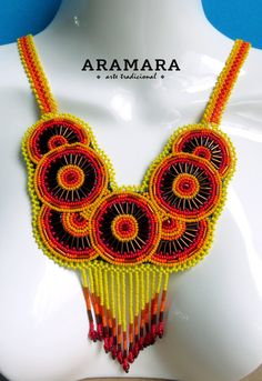 Arte Huichol mexicana cuentas collar CRG-0004 Huichol Crochet Necklace, Beaded Necklace, Native American Art, Statement Jewelry, Cross Stitch Patterns, Beads, Trending Outfits, Beadwork, Unique Jewelry