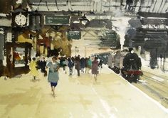 Arrival of the Watercolor Pictures, Watercolor Landscape Paintings, Watercolor Paintings, Watercolours, Architecture Drawing Sketchbooks, Art And Architecture, Uk Rail, Berlin Art, Gallery