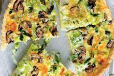 Quiche s pórkem, houbami a sýrem Finger Foods, Vegetable Pizza, Quiche, Food And Drink, Menu, Vegetables, Cooking, Breakfast, Fit