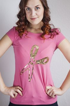 No-Sew Sequin Scissors Tee