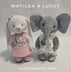 "Matilda bunny and Lucky the elephant say ""hello""! All of 6"" tall, free-standing and posable, these teddy dolls are so much fun to make and dress. Pattern comes with full tutorial-style instructions and colour photos. Patterns for clothes included as well! See more at sotreasured.com. Hugs, Jean xo"