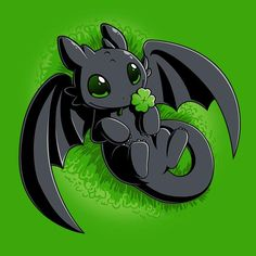 Lucky Toothless - This official How to Train Your Dragon t-shirt featuring Toothless is only available at TeeTurtle! Cute Toothless, Toothless And Stitch, Toothless Dragon, How To Train Dragon, How To Train Your, Will Terry, Cute Dragons, Cute Animal Drawings, Anime Animals