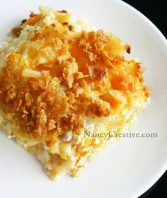 Cheesy Hash Brown Potatoes I use Chex Rice or corn cereal for the top instead. Love these