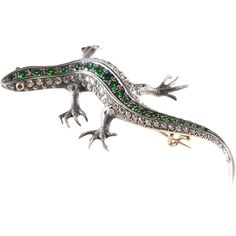 An exceptional late Victorian salamander or lizard brooch set with diamonds…