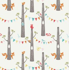 Birch Fabrics WOODLAND PARTY from the Circa 52 collection by Monaluna 100% organic cotton