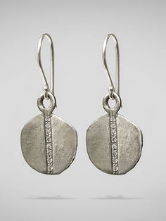 Diamond Disc Earrings Silver