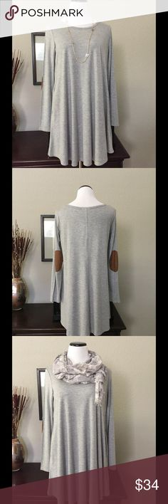 """Heather Gray Dress/Tunic Soft and flattering.  This will be your """"go to"""" outfit.  Suede elbow patches and pockets.  This can be worn as an above the knee dress or as a tunic with leggings, boots, or jeans.  Shown with Charcoal Waterfall Cardigan from my boutique.  Simplicity!  94% rayon, 6% spandex. Fashionomics Dresses"""