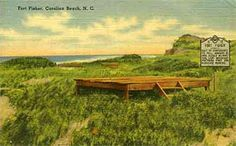 Postcard image of fishing pier at Fort Fisher, ca. Item collection of the N. Museum of History. Used courtesy of the N. Department of Cultural and Natural Resources. Image Of Fish, Southport, Natural Resources, Vintage Postcards, State Parks, North Carolina, Fisher, Museum, History