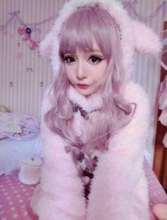 street style pastel hair pink hair moko Japanese Fashion Gyaru lilac hair pastel goth jfashion baby doll chinese net idol Chinese ulzzang fei zhu liu fzl longmaozhinv harajuku style
