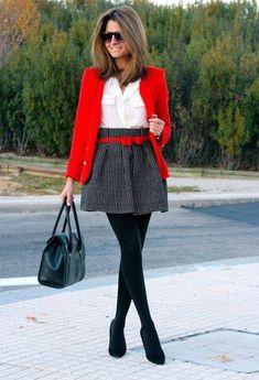 Printed skirt, black pumps, red jacket, red belt, white shirt, black bag, tights ☑️