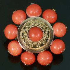 Victorian antique blood coral gold brooch by adinantiquejewellery, €875.00