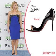 Kristen Bell in Christian Louboutin Tobaggan Black Patent Leather Sandals - ShoeRazzi
