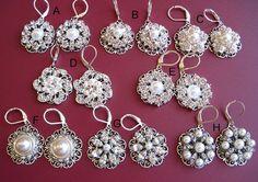 8 Choices,Multiple Discounts, Wedding Jewelry, Bridal Earrings, Christmas Gift, Pearl Earrings, Crystal Earrings, Dangle Earrings. $25.00, via Etsy.
