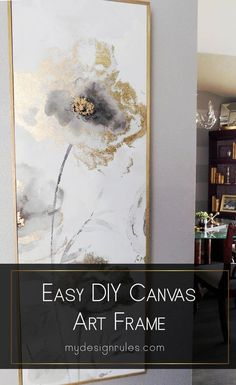 room diy art This easy tutorial explains how to take simple canvas art and DIY a frame for a budget-friendly makeover project in an hour. Beautiful Wall decor art project idea thats perfect for your kitchen or living room large prints. Diy Canvas Frame, Easy Canvas Art, Gold Canvas, Large Canvas Art, Canvas Canvas, Canvas Crafts, Large Art, Gold Diy, Diy Wall Art