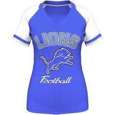 Detroit Lions Majestic Women's Go For Two IV V-Neck T-Shirt - Light Blue - $27.99