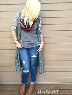 Layer it! The LuLaRoe Joy vest is there perfect accessory over a LuLaRoe Randy! Click the link to shop this look