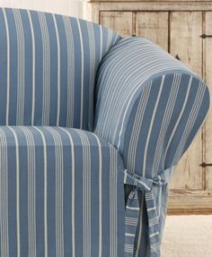 Cabana Onepiece Relaxed Fit Wrap Chair Slipcover Slate Grey