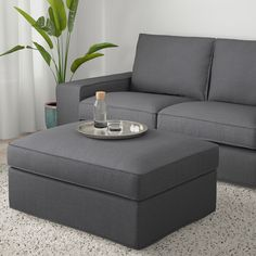 IKEA - KIVIK, Footstool with storage, Hillared anthracite, Large practical storage space under the seat. Works as an extra seat or a comfortable extension of your sofa. Fabric Ottoman, Ikea Kivik, Storage Footstool, Ikea Footstool, Leather Footstool, Polyurethane Foam, Extra Seating, Storage Spaces, Single Wide