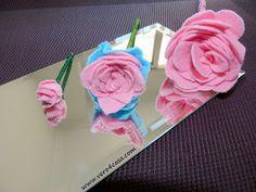 Como hacer una rosa de fieltro paso a paso ~ vero4casa