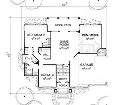 First Floor Plan of European   House Plan 67790