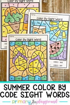 These color by code sight word pages are a fun and engaging way to practice sight words. They work great as morning work, small groups, individual work, centers, word work and homework. #colorbycode #sightwords #literacycenter #kindergarten
