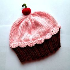 Cupcake Hat with Cherry on Top Dark Chocolate Brown Cake Cotton Candy Frosting hand knit - baby toddler children adult 3 6 9 12 18 months by StellasKnits on Etsy