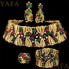 FRED Diamond, Cabochon Emerald, Sapphire & Ruby Necklace Suite - Yafa Jewelry