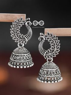 The Intricate Peacock Jhumkis - Oxidised Boho Earrings Antique Jewellery Designs, Fancy Jewellery, Fancy Earrings, Jewelry Design Earrings, Gold Earrings Designs, Ear Jewelry, Stylish Jewelry, Beaded Earrings, Fashion Jewellery
