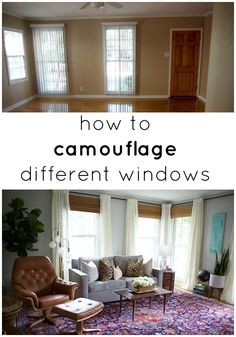 How To Camouflage Different Windows- great tips for those odd spaces Window Coverings, Window Treatments, Camouflage, Interior Decorating, Interior Design, Decorating Ideas, Smart Design, Home Hacks, Living Spaces