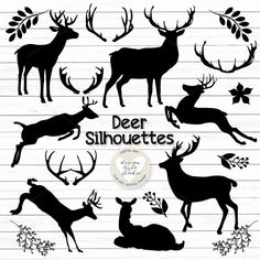 Vector deer silhouettes cliparts by designloverstudio on Creative Market