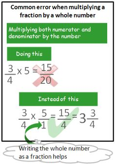 common error example with fraction multiplied incorrectly by a whole number
