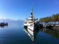 """See 110 photos and 3 tips from 614 visitors to CGN Lausanne-Ouchy. """"free wi fi is on the boat. Steamboats, Lausanne, Cn Tower, Four Square, Switzerland, Building, Fun, Travel, Viajes"""