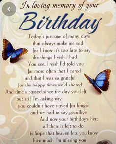 Grave Card - In Loving Memory of Your Birthday - Free Card Holder - Birthday Wishes In Heaven, Birthday Poems, Birthday Wishes Messages, Heaven Poems, Mom In Heaven Quotes, Dad In Heaven, Birthday Wish For Husband, Happy Birthday Mom, It's Your Birthday