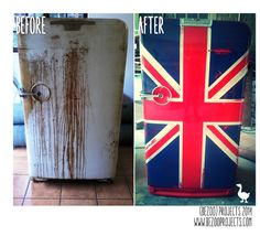 We recreate furniture! Our services include repairs, paint, paint techniques, upholstery, and much more. Union Jack, Country Kitchen, Painting Techniques, Painted Furniture, Vintage Fridge, How To Plan, Flags, Projects, Paint Techniques
