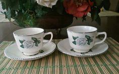 1952 VINTAGE HOMER LAUGHLIN CORONATION ROSE saucer and cup set of 2 #Homer