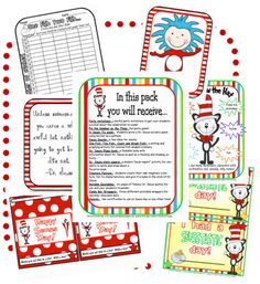 Dr. Seuss flippy book, awards, character creation, party game, quote posters, and more!