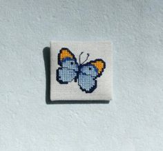 Blue and Gold Butterfly Cross Stitch Magnet