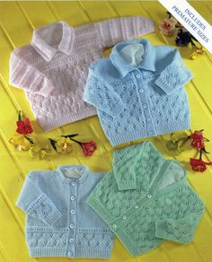 Knitting Patterns Modern baby cardigans knitting pattern baby sweater with collar lacy cardigans 4 ply premature ba…Knit V neck and Round neck Cardigan Vintage Pattern Newborn to 2 years matinee jacket cabled sweater. Baby Cardigan Knitting Pattern Free, Crochet Baby Cardigan, Free Knitting, Baby Knitting Patterns Free Newborn, Toddler Cardigan, Sock Knitting, Vogue Knitting, Pull Bebe, Cardigan Design