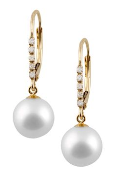 14K Yellow Gold Diamond & 8-8.5mmWhite Freshwater Pearl Dangle Earrings