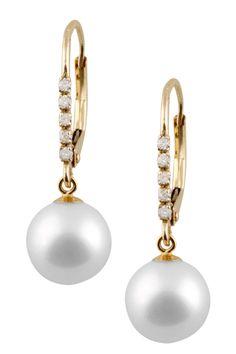 14K Yellow Gold Diamond & 8-8.5mmWhite Freshwater Pearl Dangle Earrings