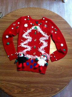 It was great fun to make Advertisements DIY ugly sweater creation. It was great fun to make Diy Christmas Hats, Homemade Ugly Christmas Sweater, Tacky Christmas Party, Ugly Christmas Shirts, Tacky Christmas Sweater, Xmas Sweaters, Ugly Sweater Day, Experiment, Awesome