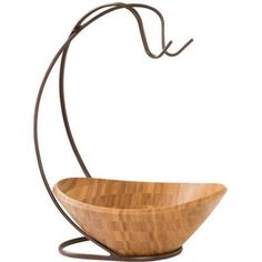 Seville Classics Fruit Tree with Banana Hook and Large Wavy Bamboo Bowl, Brown