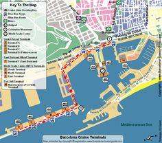 Plan des Terminaux de Départ des Croisières à Barcelone