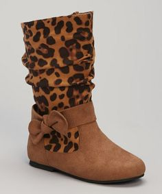 http://www.zulily.com/invite/vhanson979 Take a look at this Cognac Leopard Bow Boot by VeeVee on #zulily today!