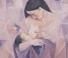 Mother and Child, 1981 - Vicente Manansala Van Gogh Pinturas, Mother And Child Painting, Filipino Art, Philippine Art, Simple Acrylic Paintings, Art Paintings, Watercolor Paintings, Cubism Art, Madonna And Child
