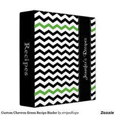Custom Chevron Green Recipe Binder
