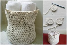 Here's a perfectly wise idea for keeping clutter under control! Crochet this wonderful owl basket as organizer or container in neutral shades as shown or in colors you'd like for your room. There i…