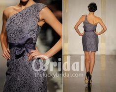 graphite lace one shoulder short cool MOH dress.