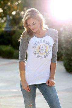 "Vintage graphic tee, ""Sunshine In My Soul"" baseball shirt, tomboy style, inspirational quote, good vibes, yoga shirt"